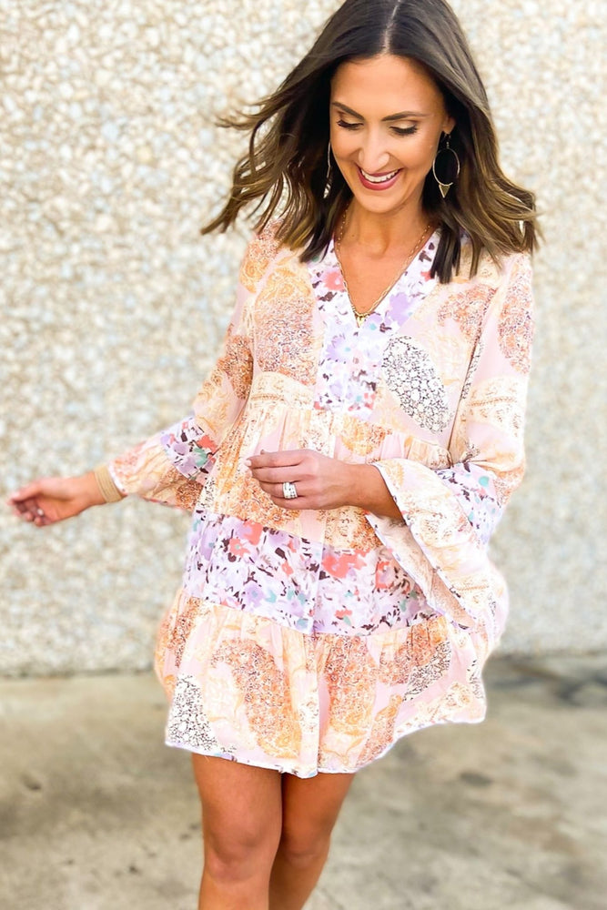 Blush Mixed Floral Tiered Dress