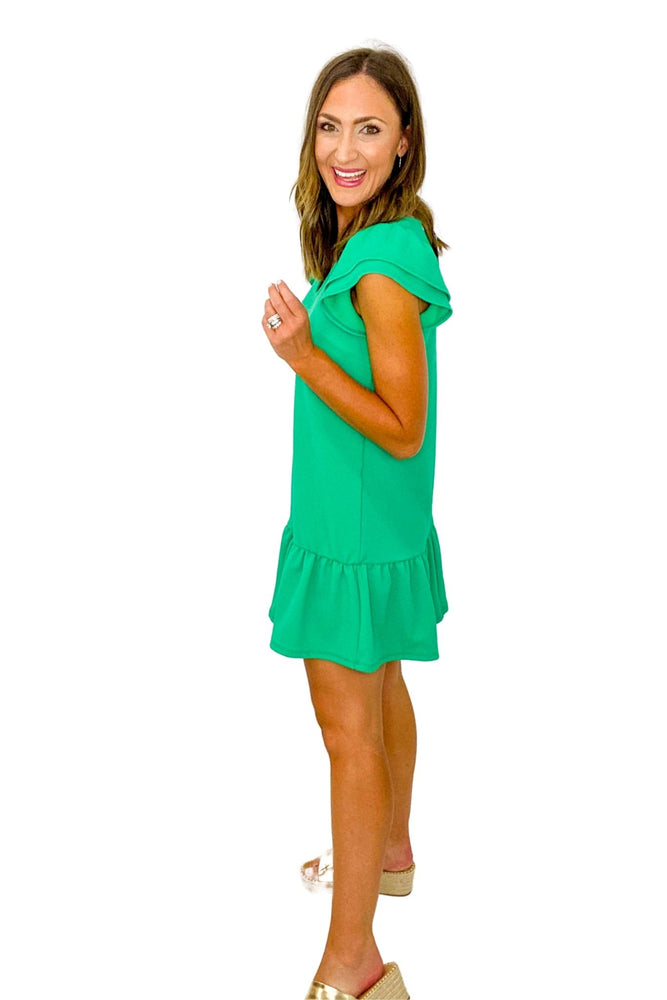Kelly Green Double Ruffle Short Sleeve Babydoll Dress