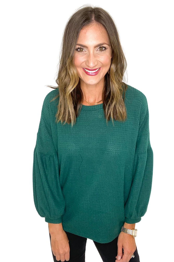 Hunter Green Brushed Thermal Balloon Sleeve Top *FINAL SALE*