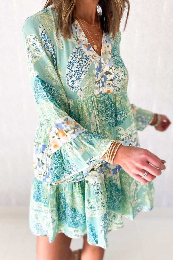 mint mixed floral tiered dress, spring dresses, shop style your senses by mallory fitzsimmonsmint mixed floral tiered dress, dreaming of spring, February collection, spring outfits, new arrivals, affordable style, shop style your senses by mallory fitzsimmons