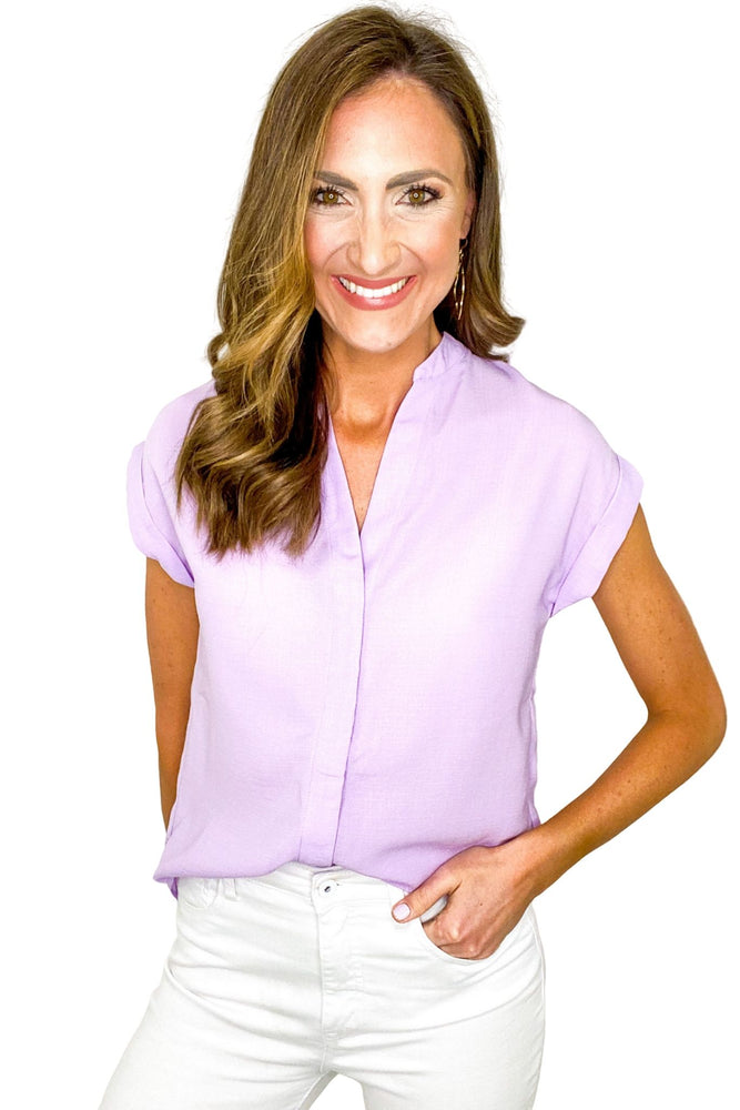 Lavender Button Down Cap Sleeve Top