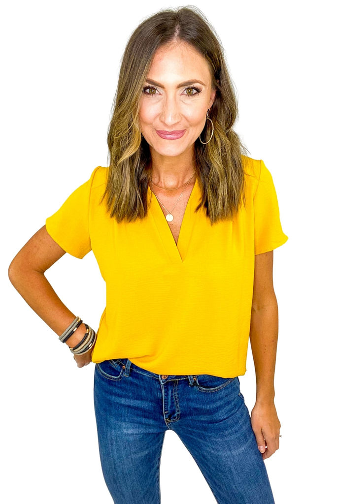 Mustard V Neck Short Sleeve Top
