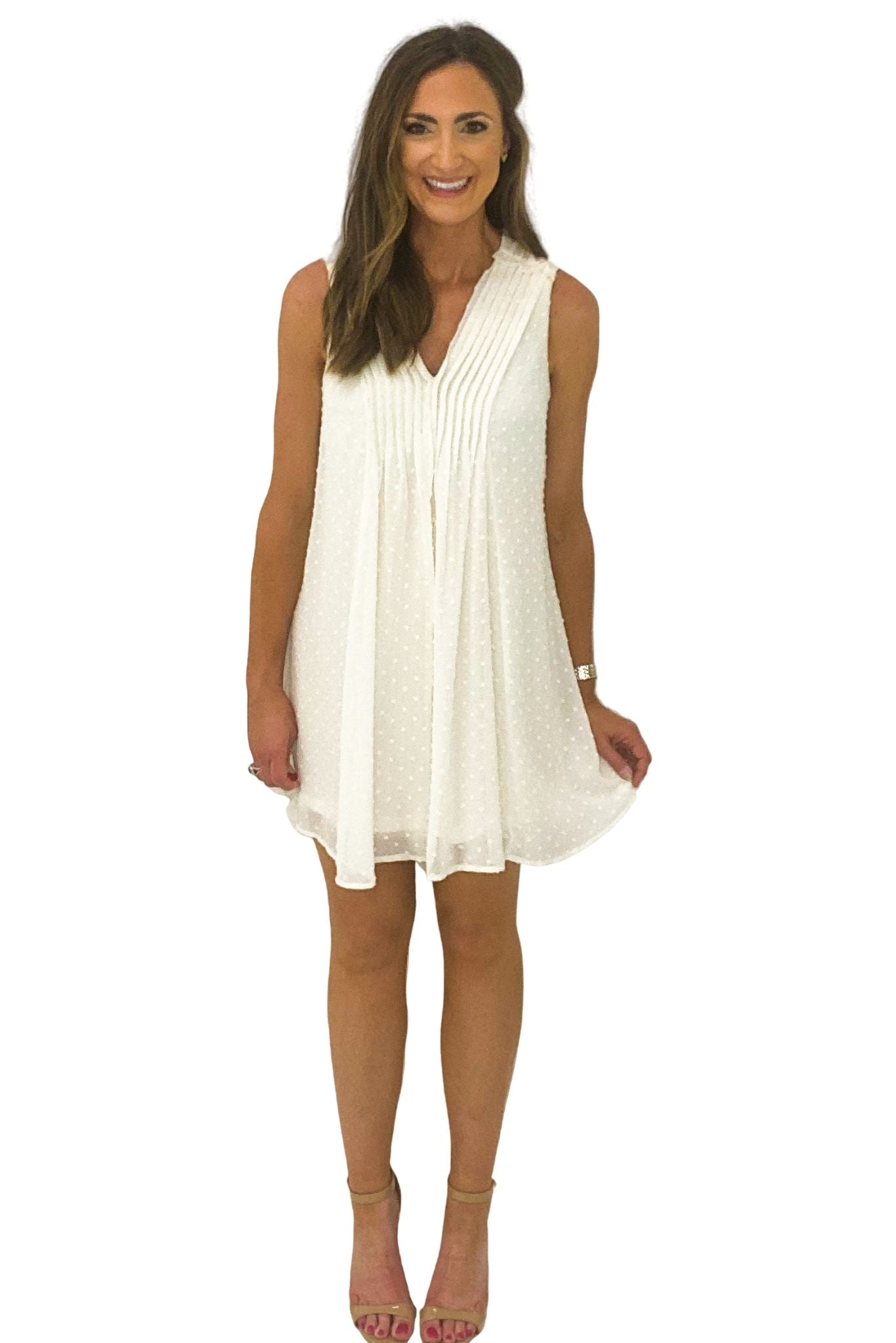 Ivory V Neck Swiss Dot Dress *FINAL SALE*