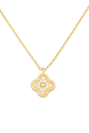 gold delicate pave clover necklace, everyday necklace, layerable necklace, affordable accessories, trendy jewelry, shop style your senses by mallory fitzsimmons