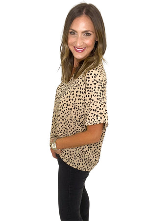 Load image into Gallery viewer, Taupe Polka Dot V-Neck Top