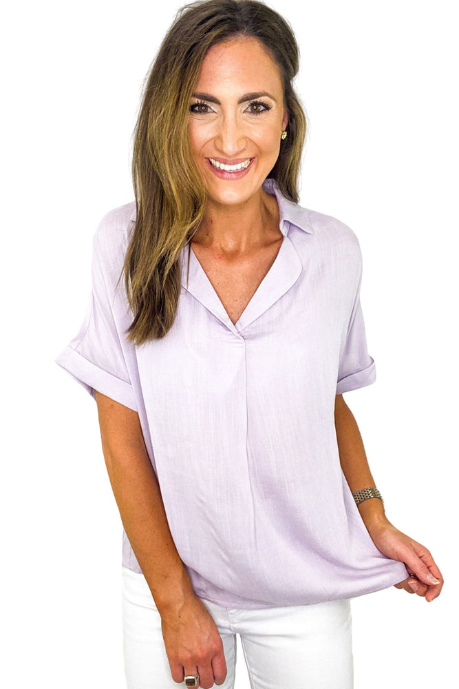 Lilac V Neck Boyfriend Top