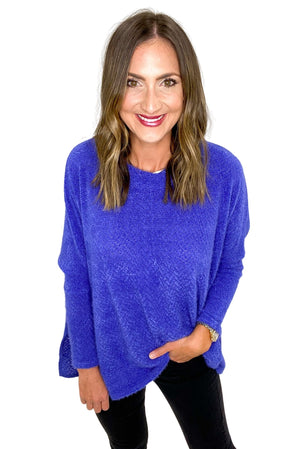 Royal Blue Brushed Eyelash Oversized Top *FINAL SALE*