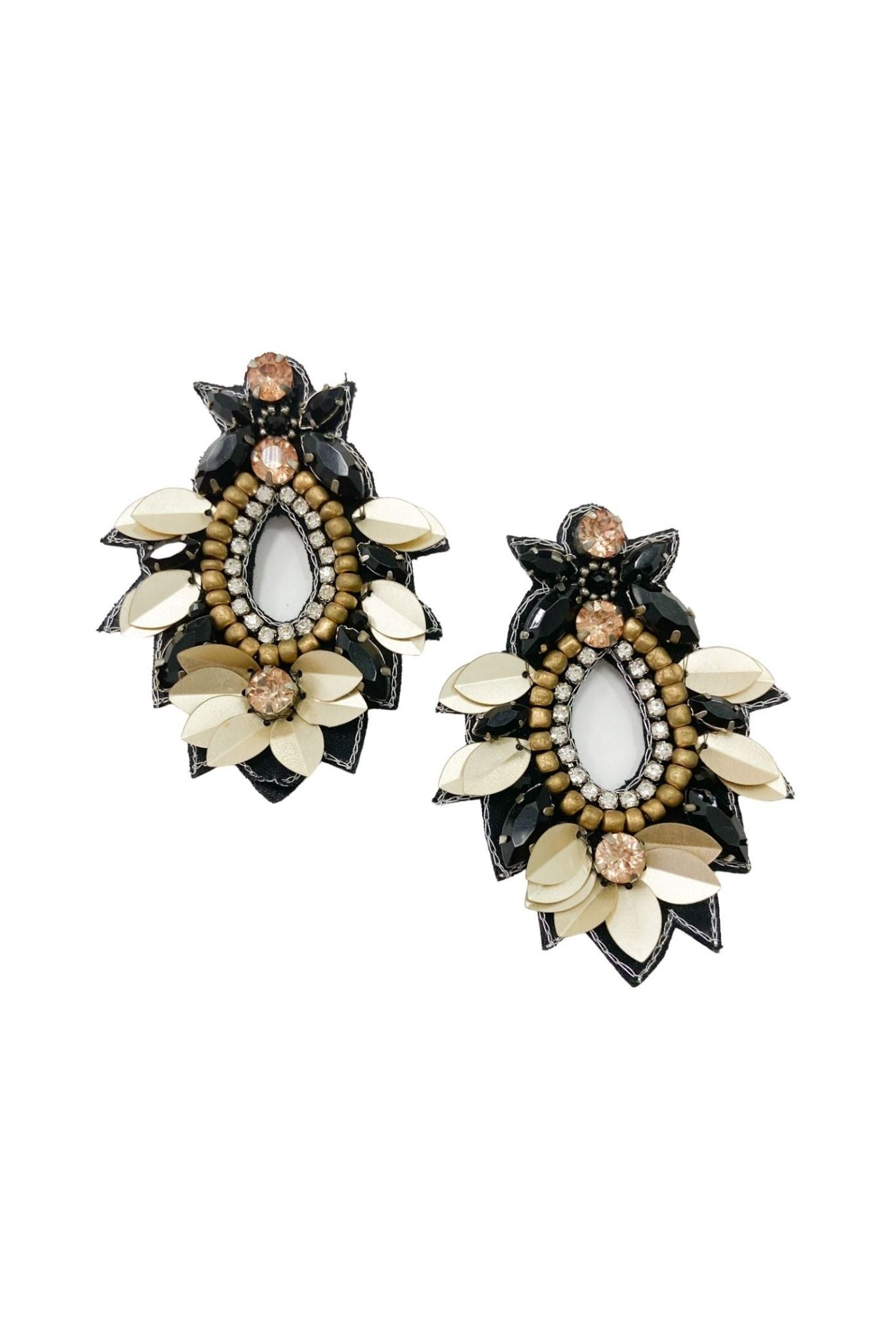 Beaded Petal and Rhinestone Earrings