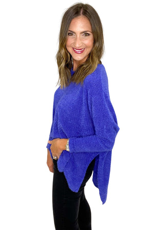 Load image into Gallery viewer, Royal Blue Brushed Eyelash Oversized Top *FINAL SALE*