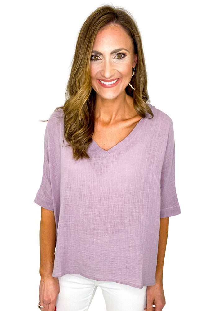 Load image into Gallery viewer, V Neck Woven Gauze Top *FINAL SALE*