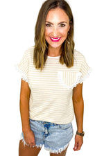 Oatmeal and Ivory Stripe Top w/ Eyelet Pocket