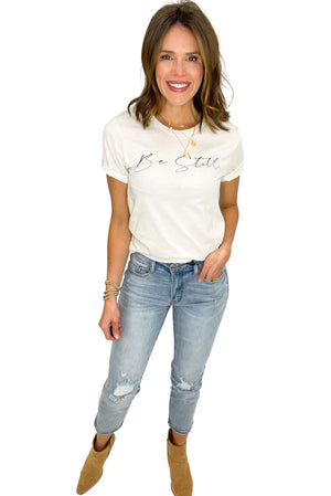 off white be still graphic tee, women's christian clothing, shop style your senses by Mallory Fitzsimmons