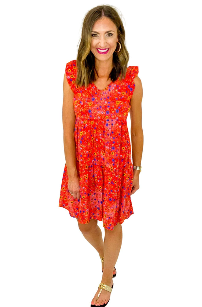 Red Tiny Floral Tiered Dress