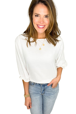 white 3/4 ruffle sleeve top, distressed jeans, spring tops, shop style your senses by mallory fitzsimmons