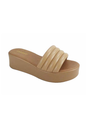 Load image into Gallery viewer, Camel Puffy Strap Slide Platform Sandal