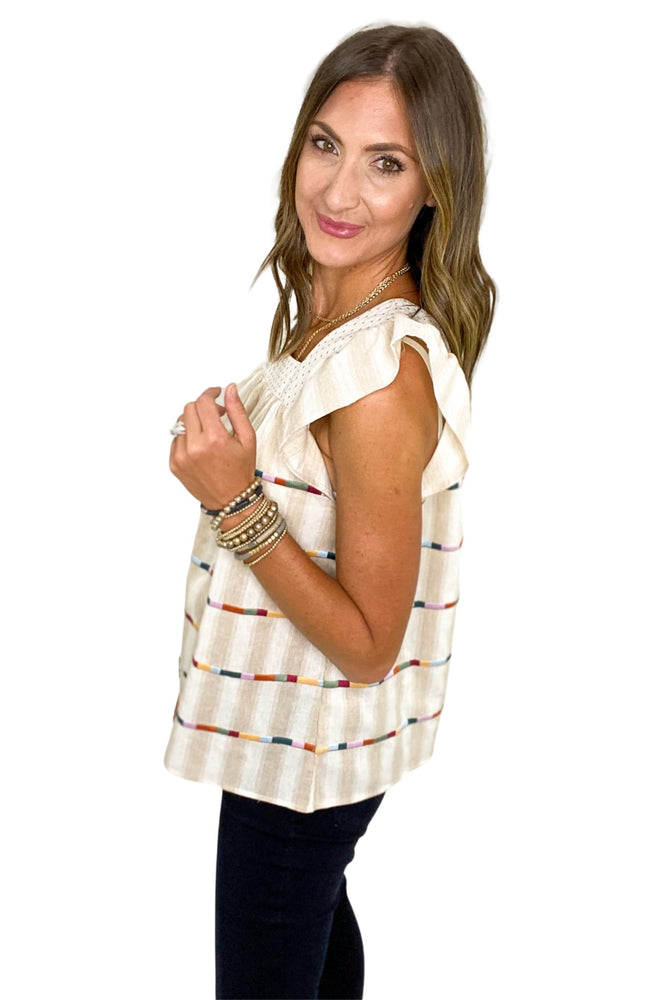 Oatmeal Striped Square Neck Top w/ Embroidered Stripes *FINAL SALE*