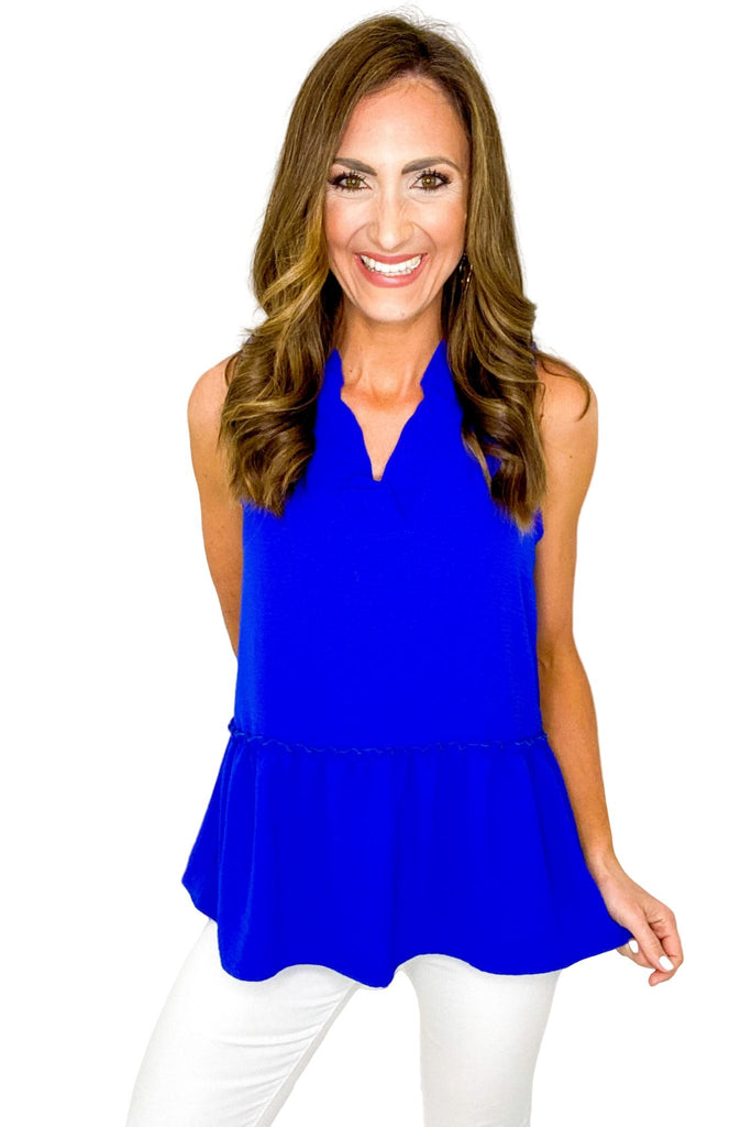 Royal Blue Ruffle Neck Drop Waist Top