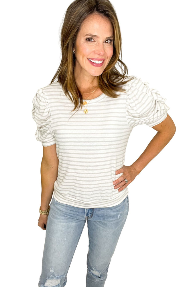 grey and ivory striped short ruched sleeve top, distressed jeans, spring tops, shop style your senses by mallory fitzsimmons