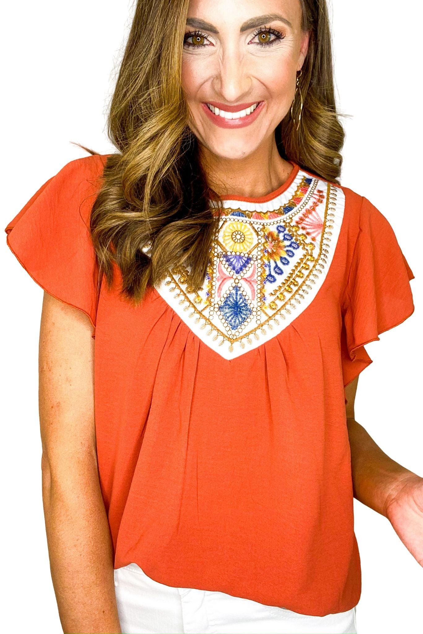 Rust Embroidered Flutter Sleeve Top
