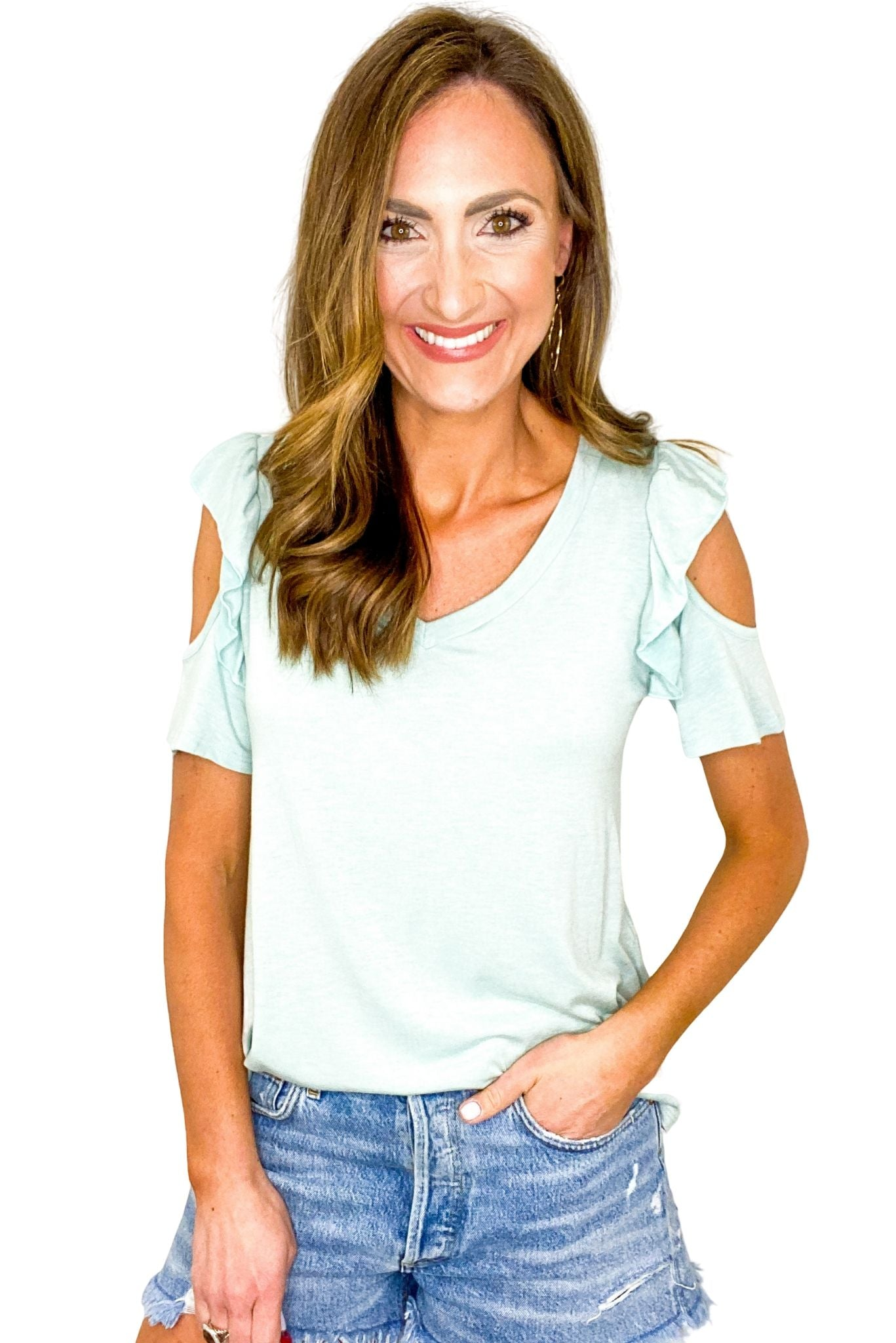 Mint Ruffle Cold Shoulder Tee *FINAL SALE*