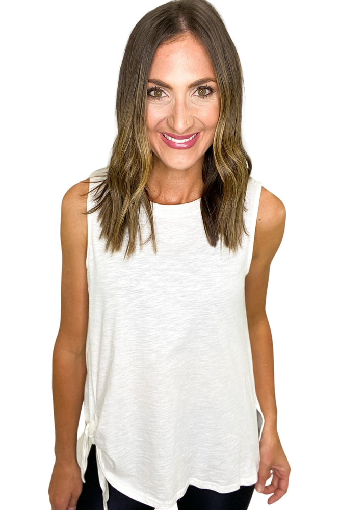 Load image into Gallery viewer, White Sleeveless Tank w/ Side Slits