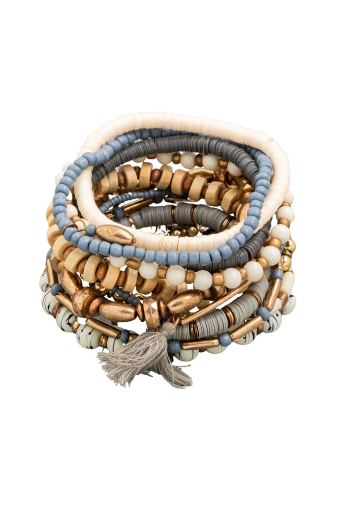 Load image into Gallery viewer, Grey, Blue and Gold Large Bracelet Stack