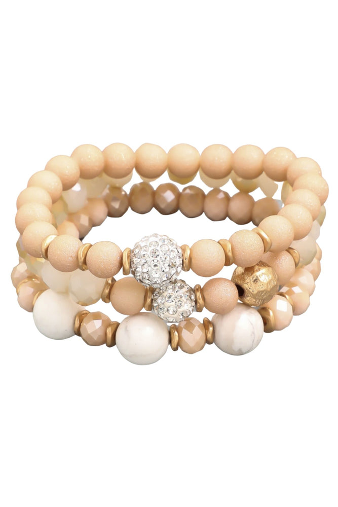 Tan Mixed Material Bracelet Set