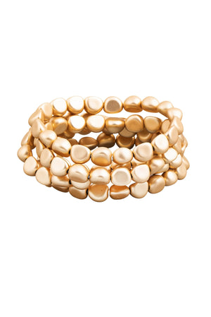 Gold Smooth Beaded Bracelet Set