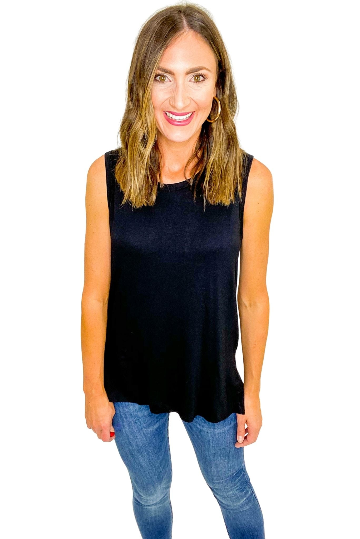 Black Sleeveless Side Slitted Knit Top