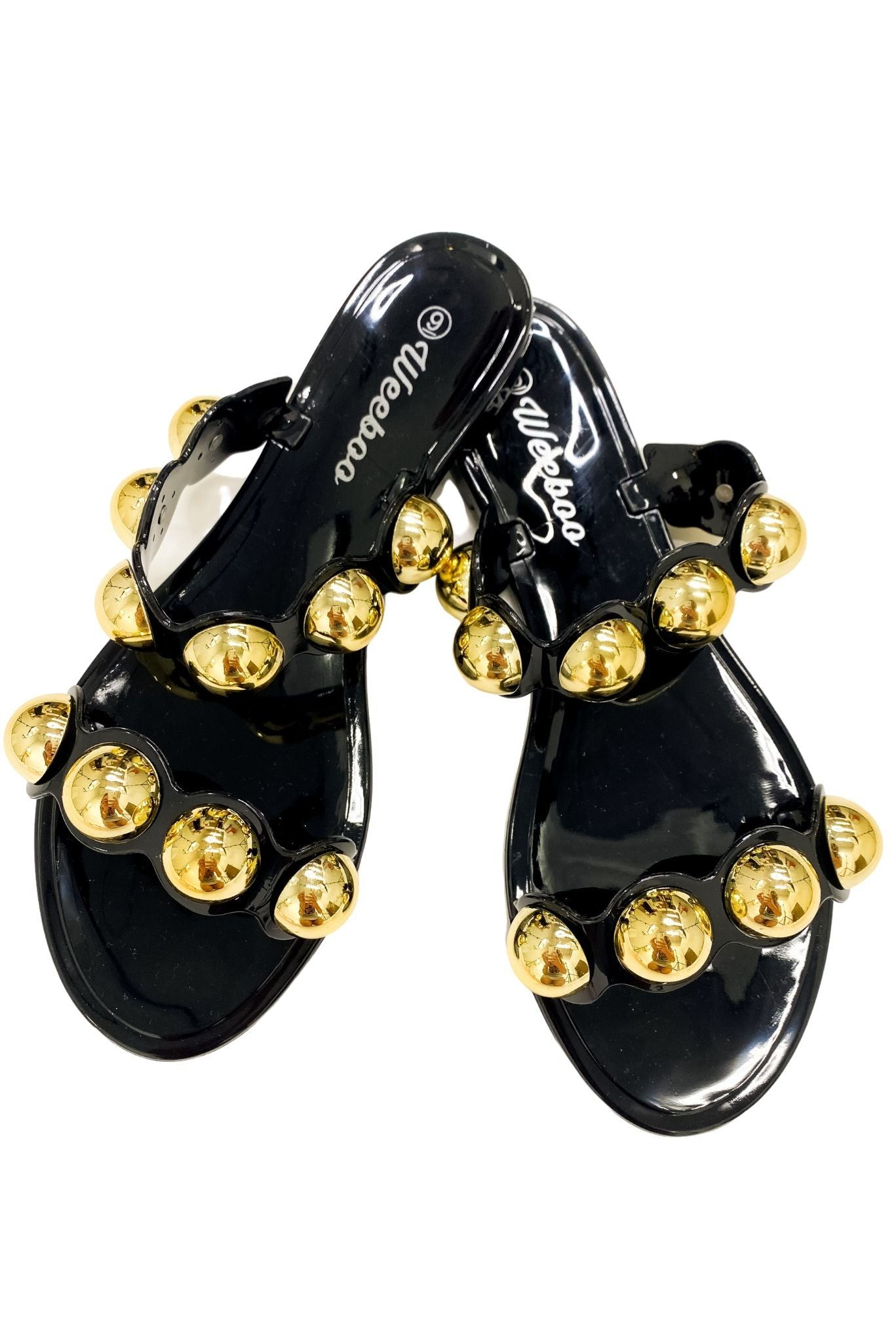 Black Double Strap Jelly Sandals w/ Gold Baubles *FINAL SALE*
