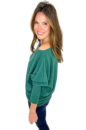 hunter green boat neck dolman top, skinny jeans, off the shoulder, shop style your senses by mallory fitzsimmons