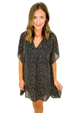 Black Animal Print Short Kaftan Dress