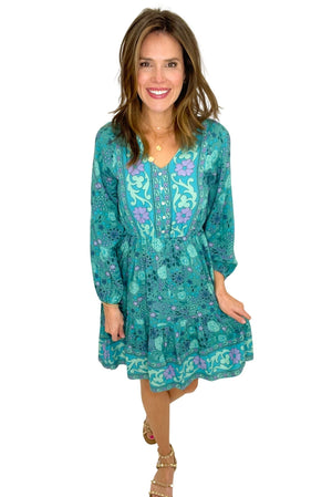 shagreen floral long sleeve dress with elastic waist, spring dresses, shop style your senses by mallory fitzsimmons