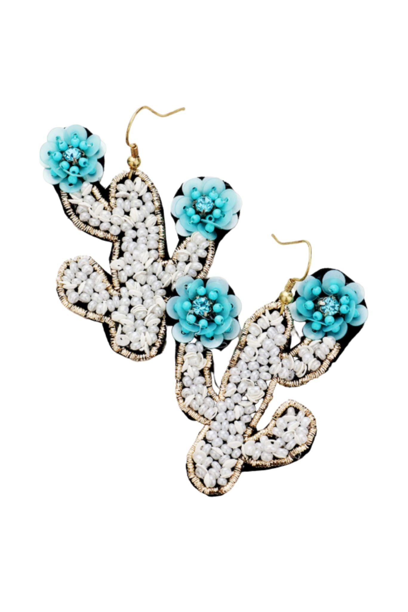 White Beaded Cactus Earrings w/ Turquoise Flowers