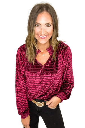 Burgundy Velvet Stripe Long Sleeve Top