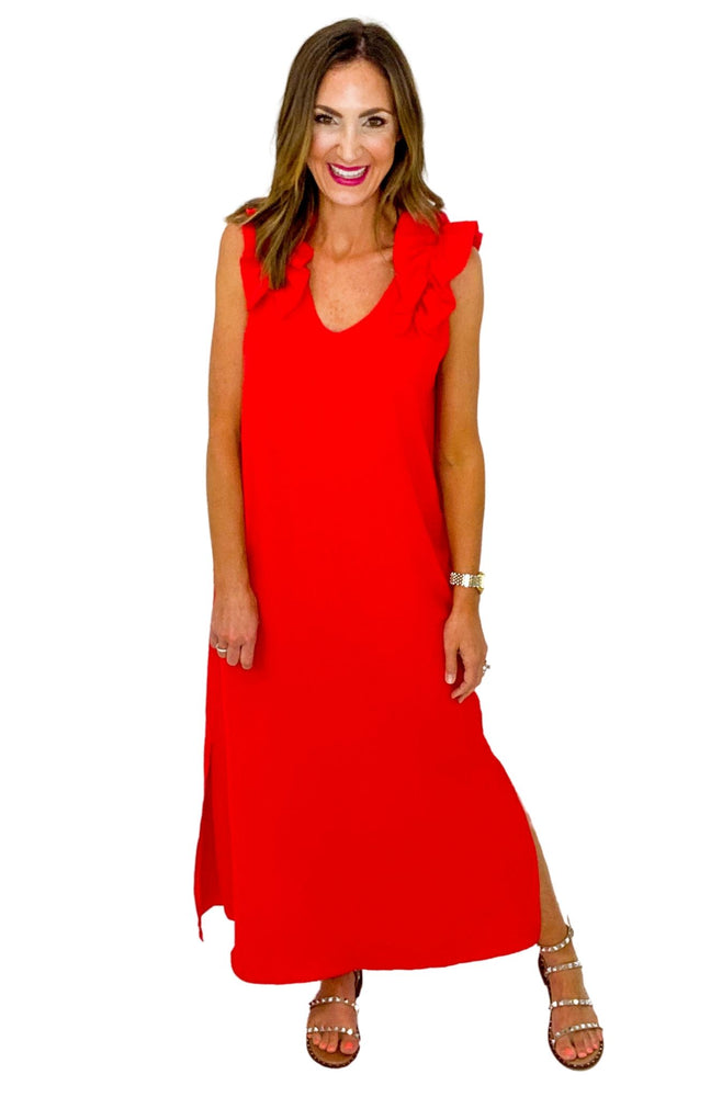 Red Ruffle Shoulder Maxi Dress