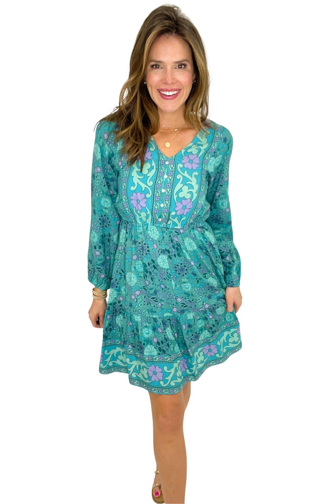 Load image into Gallery viewer, shagreen floral long sleeve dress with elastic waist, spring dresses, shop style your senses by mallory fitzsimmons