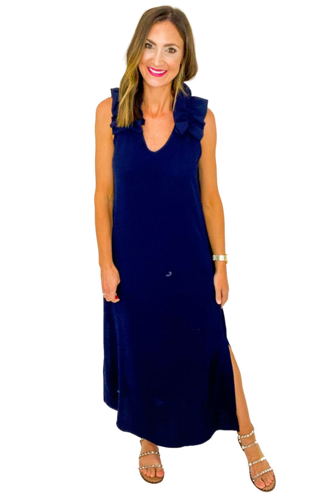 Navy Ruffle Shoulder Maxi Dress