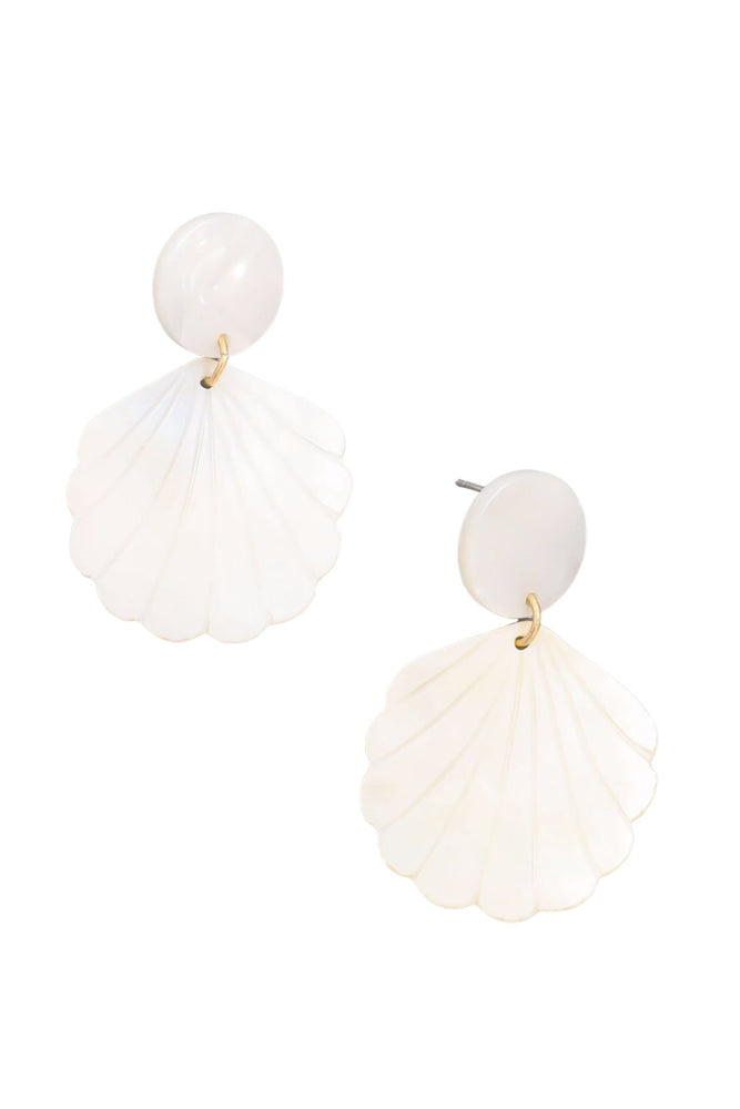 White Seashell Earrings