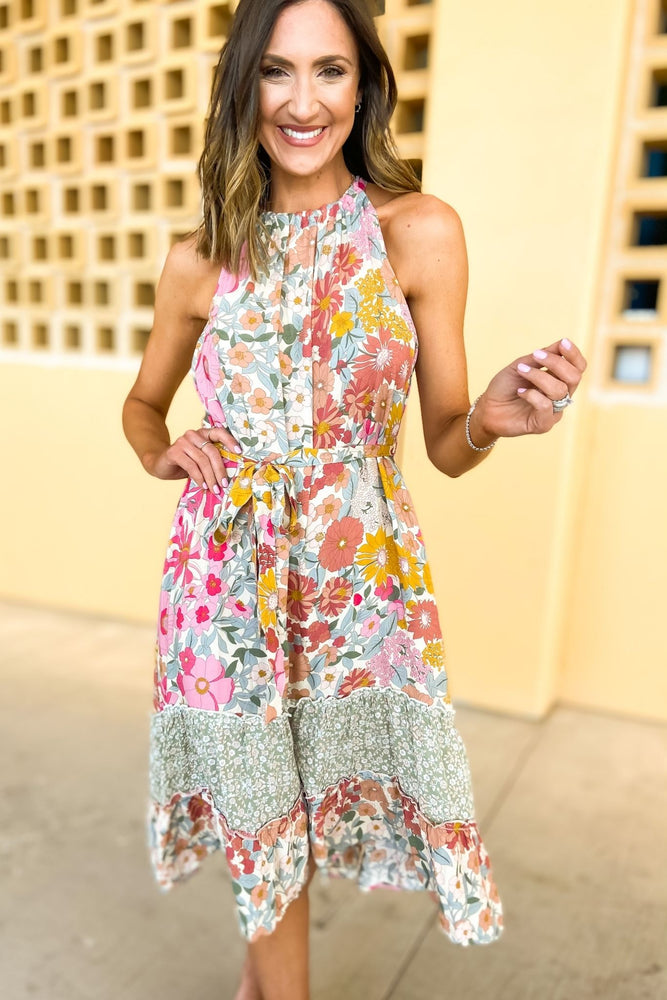 mixed floral print high low halter dress, spring dresses, trendy outfits, shop style your senses by mallory fitzsimmons