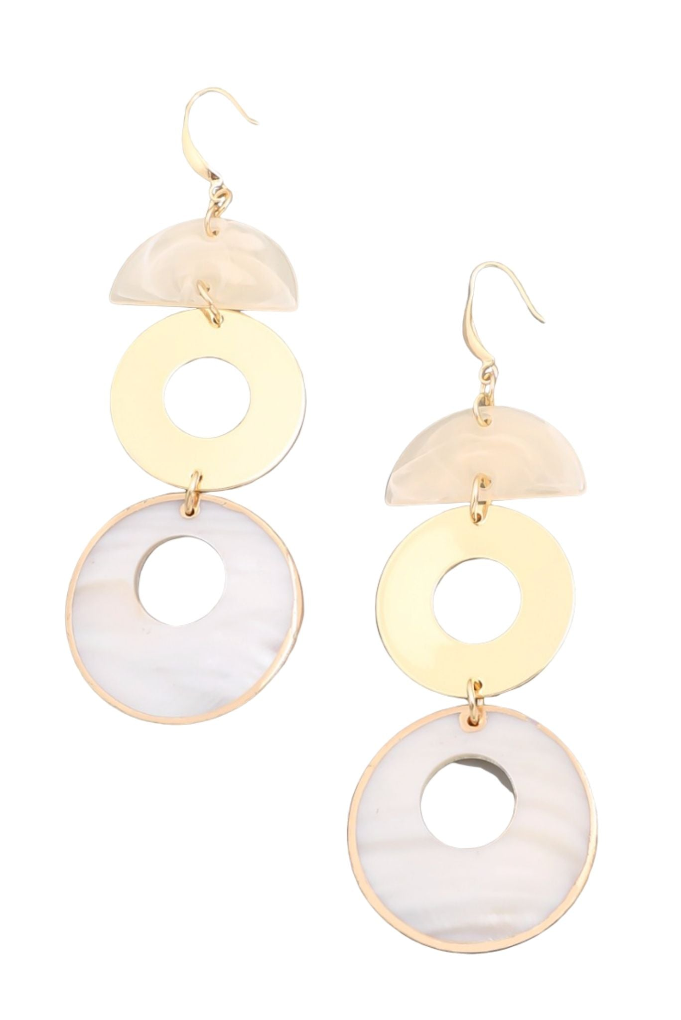 Ivory and Gold Drop Circle Earrings