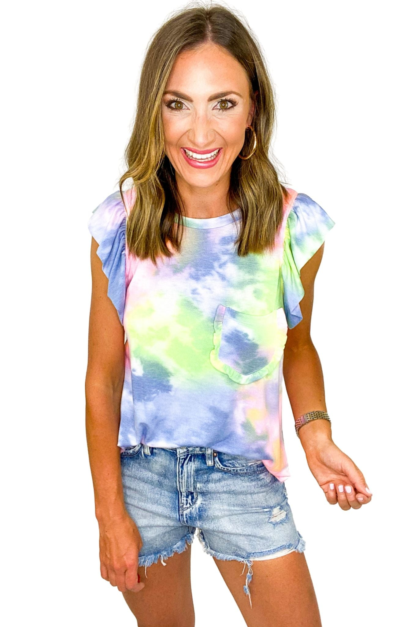 Multi Color Tie Dye Tee w/ Ruffle Pocket