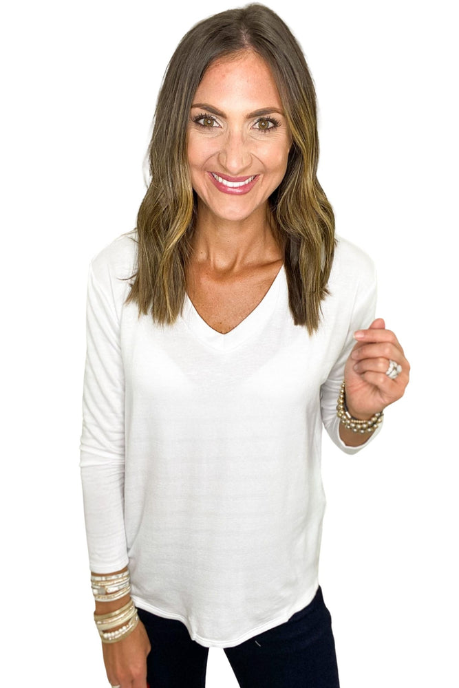 Load image into Gallery viewer, Basic White Long Sleeve V Neck Top