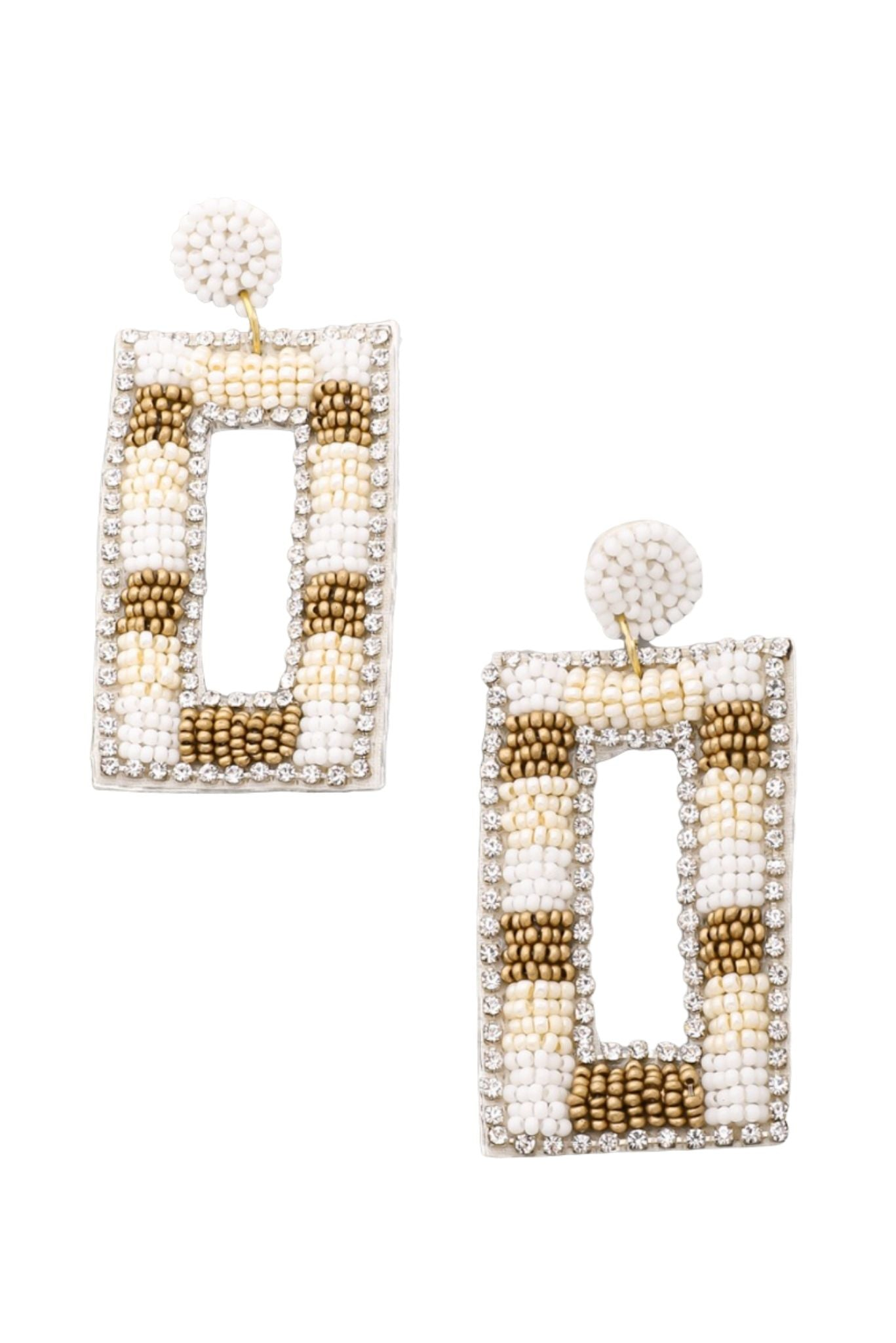 Ivory and Gold Beaded Rectangle Earrings