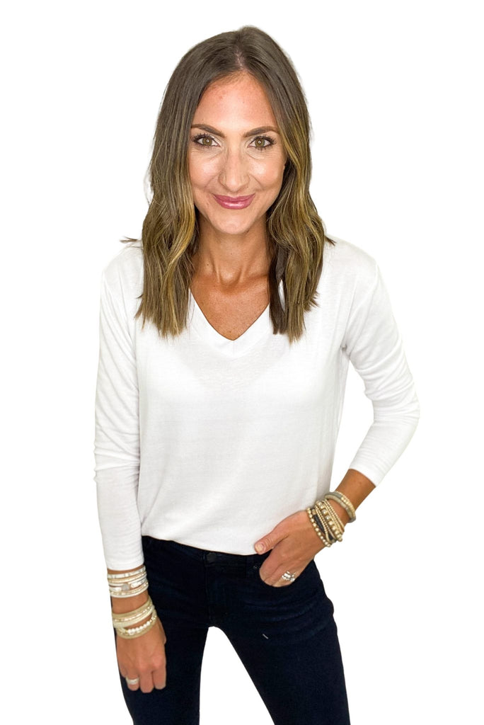 Basic White Long Sleeve V Neck Top
