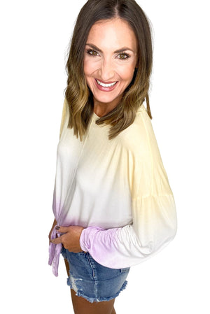 purple and gold dip dye knot front top, distressed denim, spring tops, shop style your senses by mallory fitzsimmons