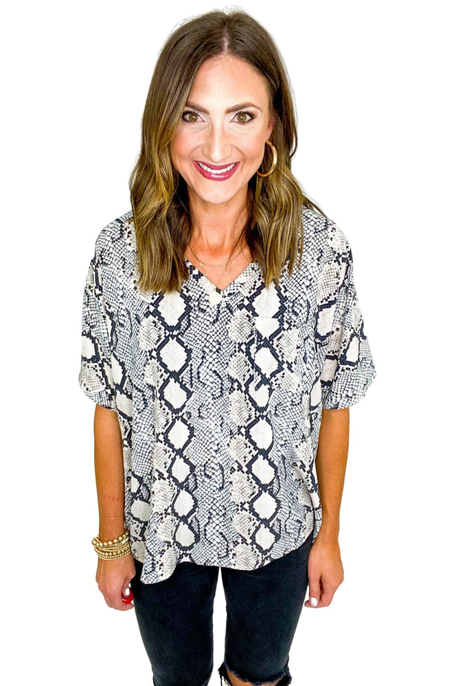 Relaxed Scale Print V Neck Top