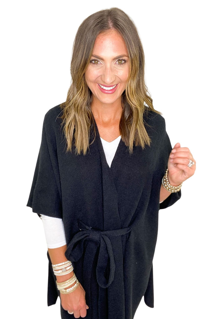 Black Solid Belted Poncho Cardigan
