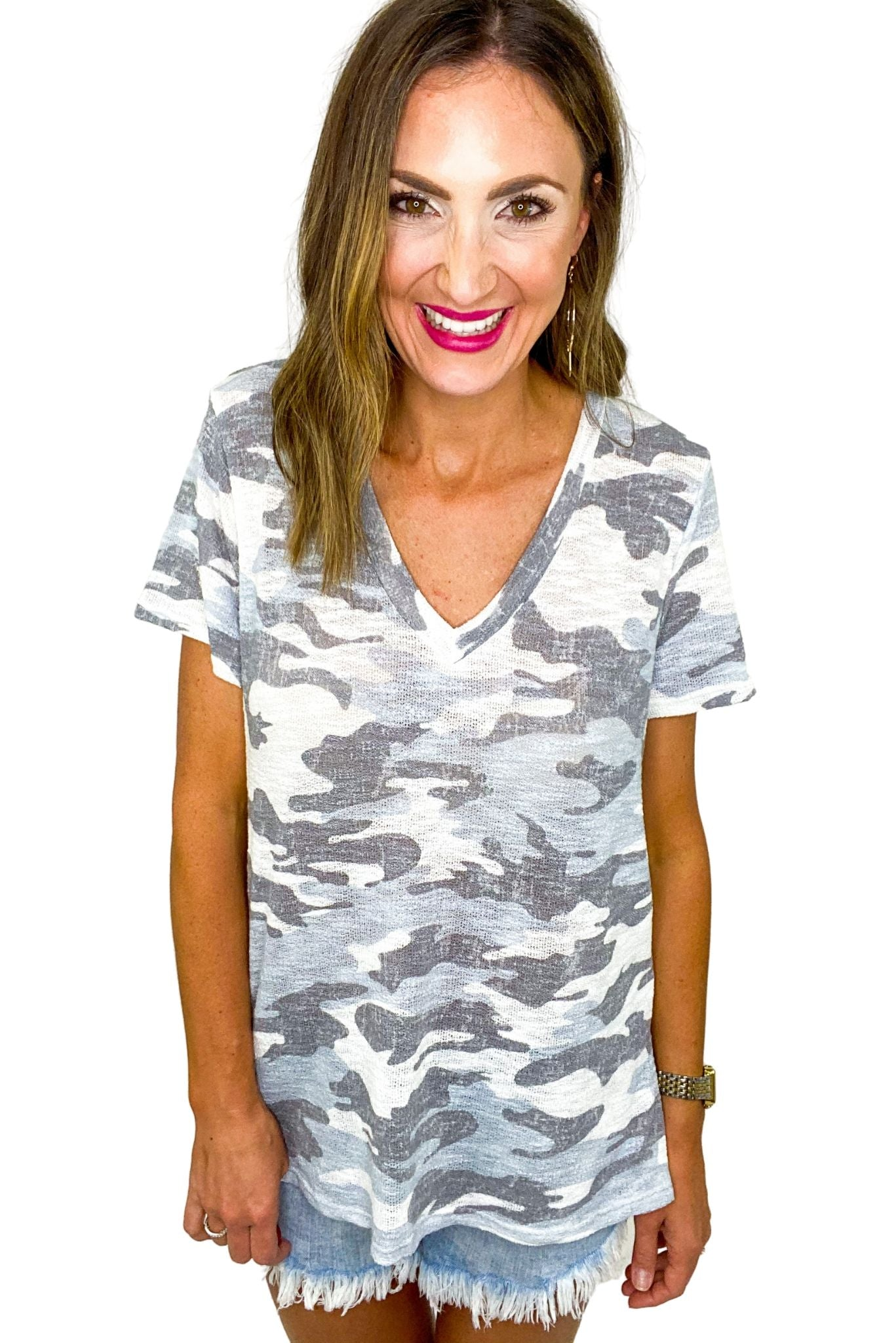 Off White Camo V Neck Top