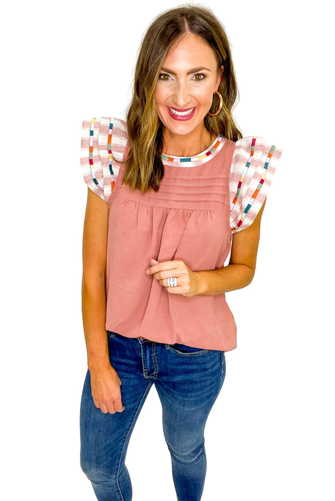Rose Flutter Sleeve Top w/ Embroidery Detail
